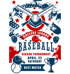 Baseball sport ball bat gloves and trophy cup vector