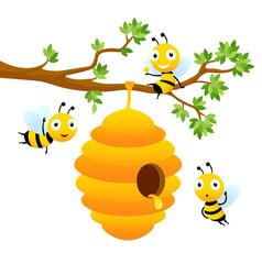 Bee characters cartoon mascot design vector