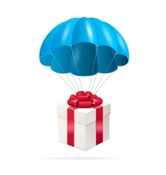 Blue Parachute with a gift box vector