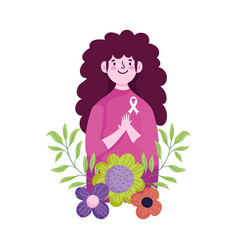 Breast cancer awareness month woman flowers vector