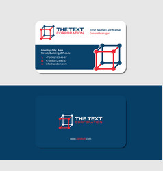 Business card 3d cube blue and red colors vector