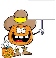 Cartoon pumpkin dressed as a cowboy vector