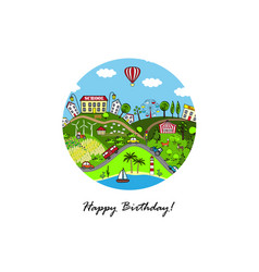 cartoon town greeting card vector image