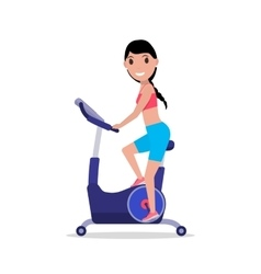 Cartoon woman on a Stationary exercise bike vector