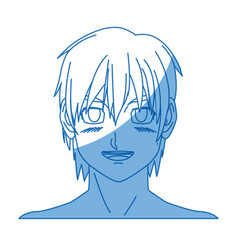 cartoon young guy anime boy character japanese vector image