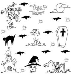 Castle zombie and bat halloween in doodle vector