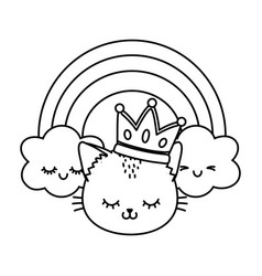 cat with crown and rainbow black and white vector image