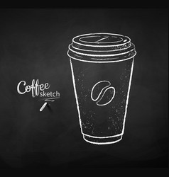 Chalk drawn coffee paper cup vector