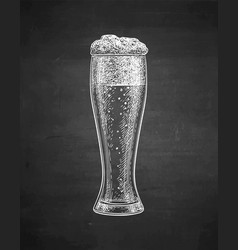 Chalk sketch of beer glass vector