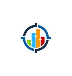 Chart target logo icon design vector