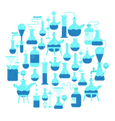 chemistry science round background flask test vector image