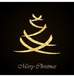 Christmas tree gold glitter greeting card vector image