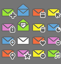 Collection of color mailing web icons vector