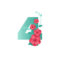 color number 4 with beautiful flowers vector image