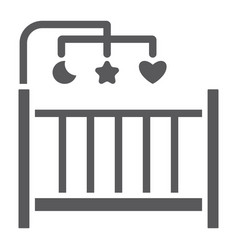 Crib glyph icon home and child cradle sign vector