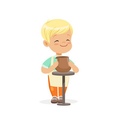 Cute little boy potter making ceramic pot kids vector