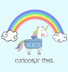 Cute unicorn with ethnic pattern with rainbow vector