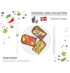 Denmark cuisine european national dish collection vector