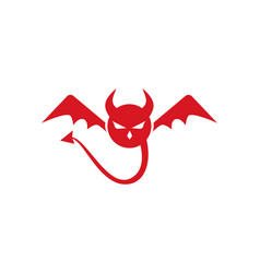 Devil logo red icon template vector