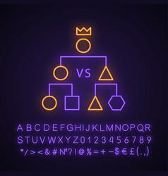 Double-elimination tournament neon light icon vector