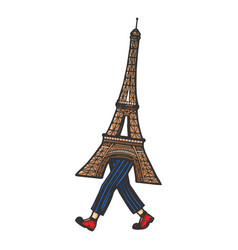 eiffel tower walk sketch engraving vector image