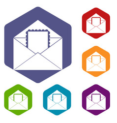Envelope with card icons set hexagon vector