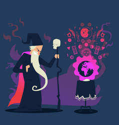 evil wizard casting spell on planet earth cartoon vector image