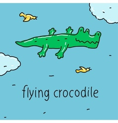 Flying crocodile vector