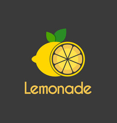 fresh lemon slice circle logo design template vector image