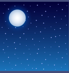 full moon and starry night sky square background vector image