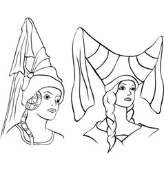 girl in medieval hat vector image