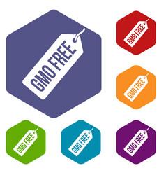 Gmo free price tag i icons set hexagon vector