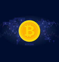 golden bitcoin icon in world map background for vector image