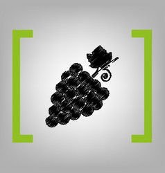 grapes sign black scribble vector image