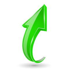 Green up arrow shiny bent web sign vector