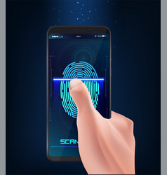 hand holding smart phone with process vector image