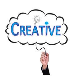 hand isolate pencil idea write blue creative vector image