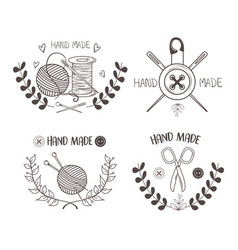 Hand made sewing set icons vector