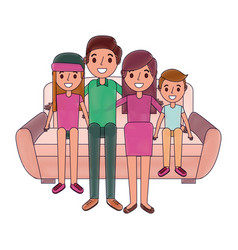 happy family sitting together in the sofa vector image
