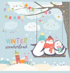 happy penguins swinging in winter park vector image