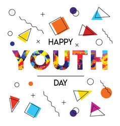 happy youth day abstract retro background card vector image