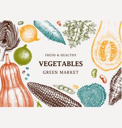 harvest festival frame design in color vegetables vector image