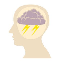 Head with storm icon cartoon style vector