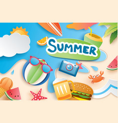hello summer with paper cut symbol icon vector image