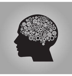 Human brain with gears for your design vector