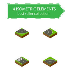 Isometric road set of strip bitumen road and vector