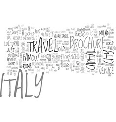 Italy travel brochure text background word cloud vector