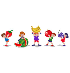 Kids and fruits vector