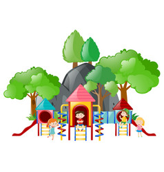 Kids playing at the playground together vector