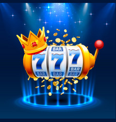 King slots 777 banner casino on blue vector